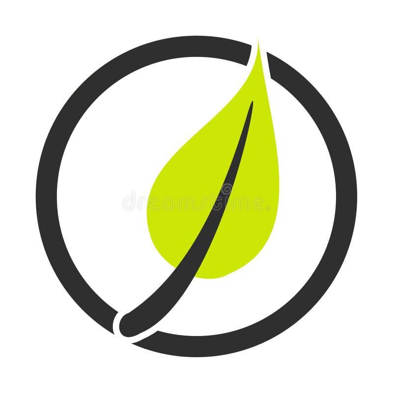 Ícone do círculo da folha verde ilustração stock