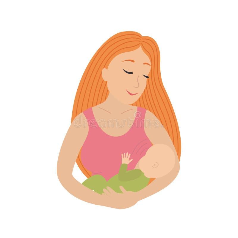 Ícone do círculo que descreve a mãe que amamenta sua jovem criança ilustração royalty free