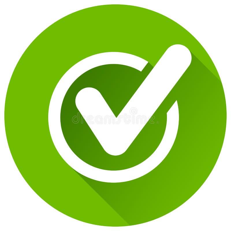 Ícone do círculo do verde da marca de verificação ilustração royalty free