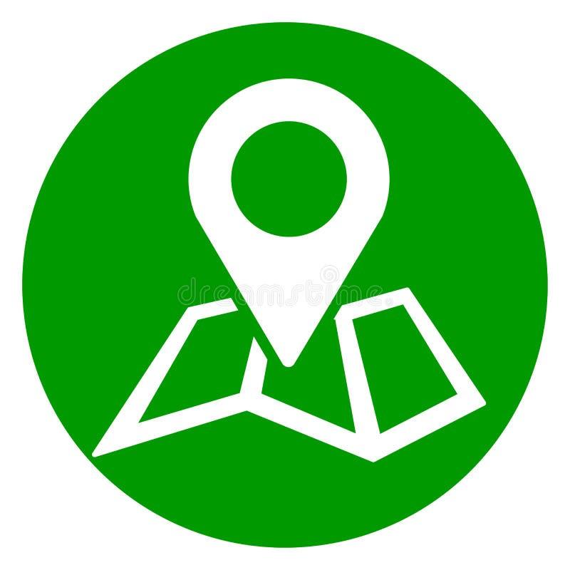 Ícone do círculo do verde do pino do mapa ilustração stock