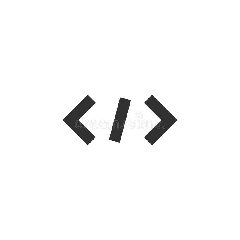 Ícone do código no estilo liso na moda isolado no fundo cinzento Símbolo para seu projeto do site, logotipo do código, app, UI Ve ilustração do vetor
