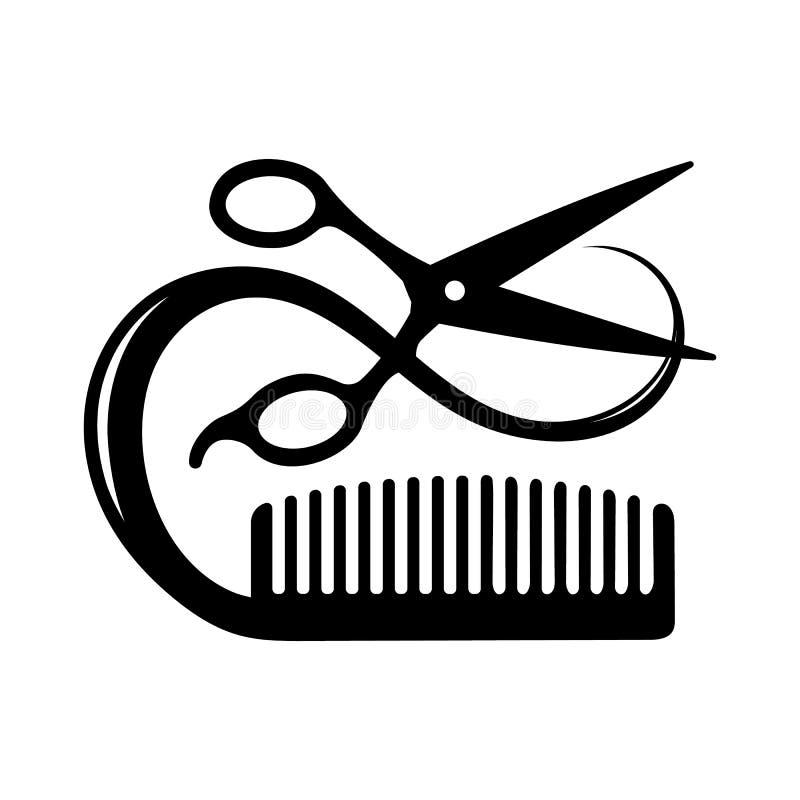 Ícone do cabeleireiro de um par de tesouras que cortam um fechamento do cabelo e da escova de cabelo ilustração royalty free