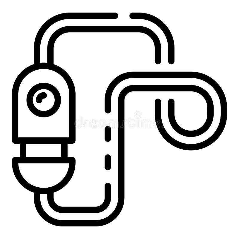 Ícone do cabo do cacifo da bicicleta, estilo do esboço ilustração royalty free