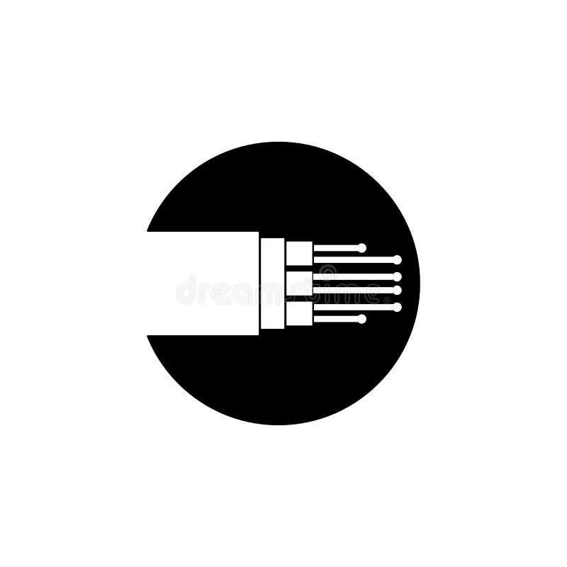 ícone do cabo de fibra ótica Elemento do ícone da conexão a Internet Ícone superior do projeto gráfico da qualidade sinais e cole ilustração do vetor