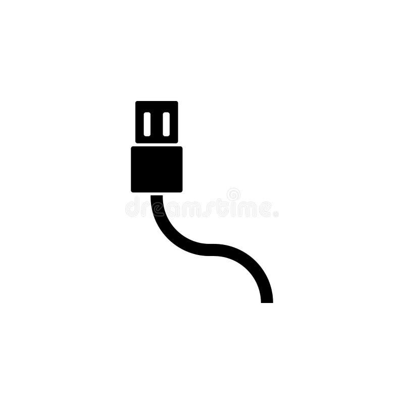 ícone do cabo do usb Elemento do ícone da Web para apps móveis do conceito e da Web O ícone isolado do cabo do usb pode ser usado ilustração do vetor