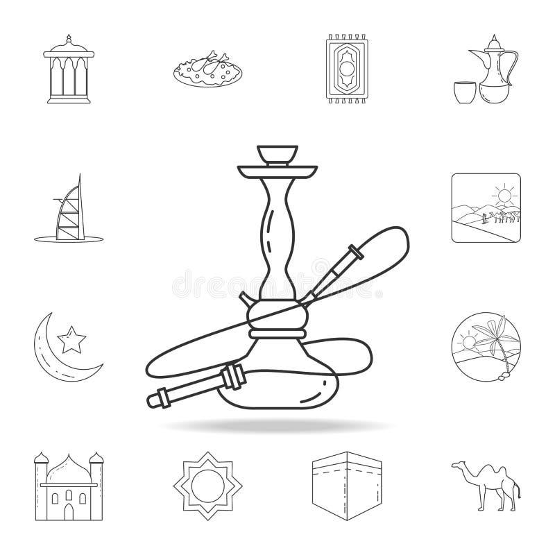 Ícone do cachimbo de água Grupo detalhado de ícones árabes da cultura Projeto gráfico superior Um dos ícones da coleção para Web  ilustração do vetor