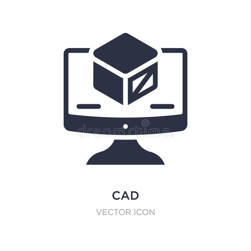 ícone do cad no fundo branco Ilustração simples do elemento do conceito da tecnologia ilustração royalty free