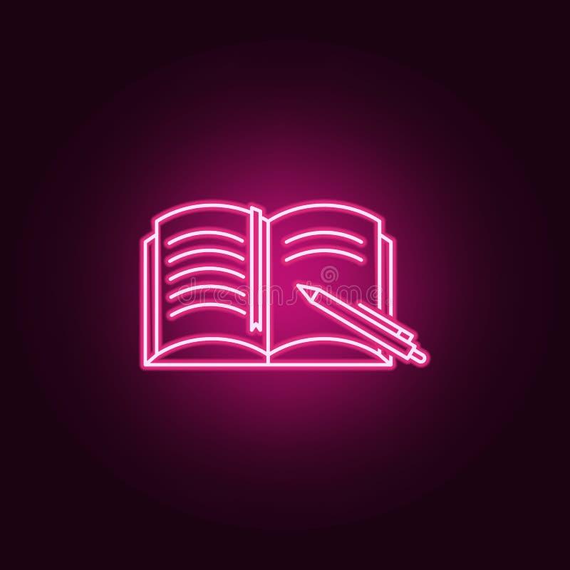 Ícone do caderno e da pena Elementos dos livros e dos compartimentos nos ícones de néon do estilo Ícone simples para Web site, de ilustração stock