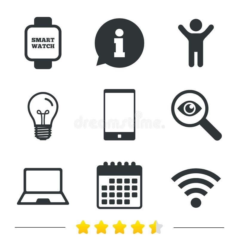 Ícone do caderno e do smartphone Símbolo esperto do relógio ilustração stock