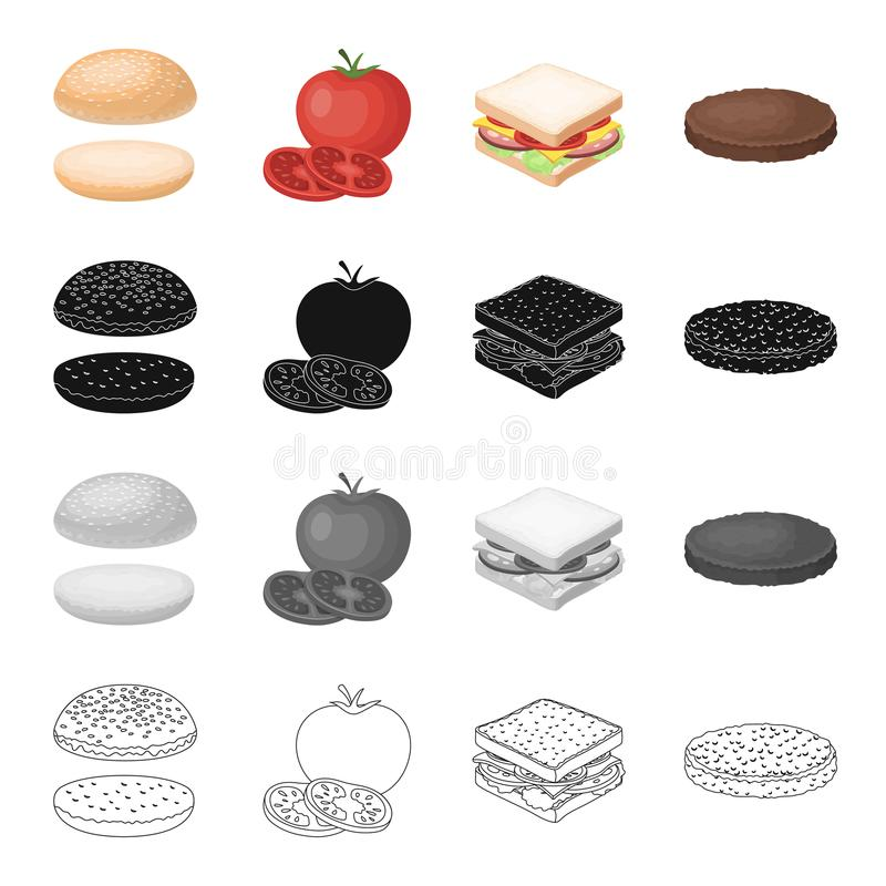 Ícone do café, do hamburguer, o butty e o outro da Web no estilo dos desenhos animados Pão, farinha, produtos, ícones na coleção  ilustração stock