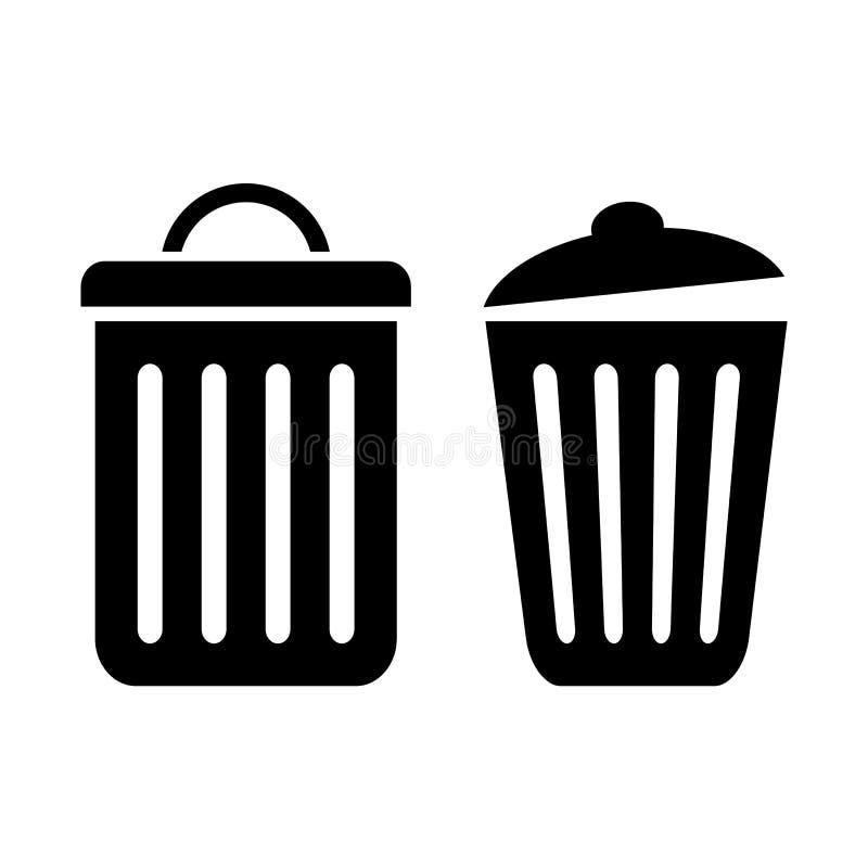 Ícone do caixote de lixo ilustração stock