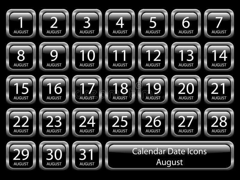 Ícone do calendário ajustado - agosto ilustração stock