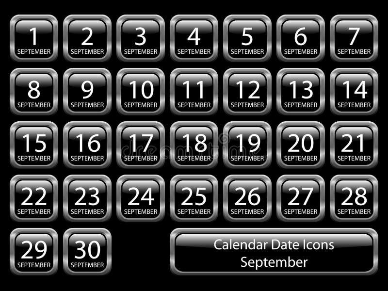 Ícone do calendário ajustado - setembro ilustração royalty free
