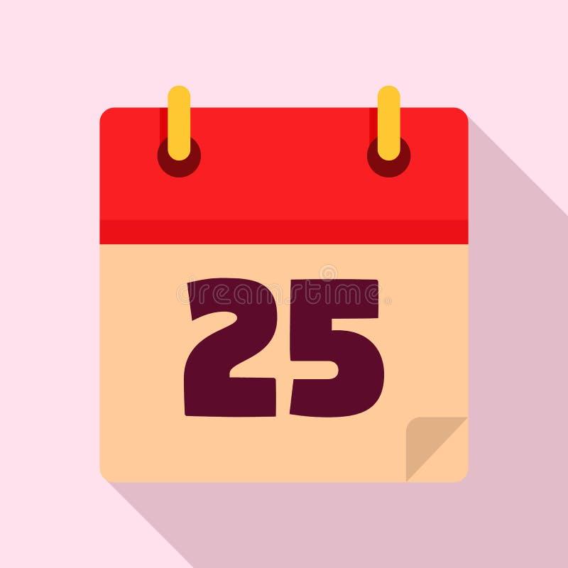 Ícone do calendário da data do Natal, estilo liso ilustração stock