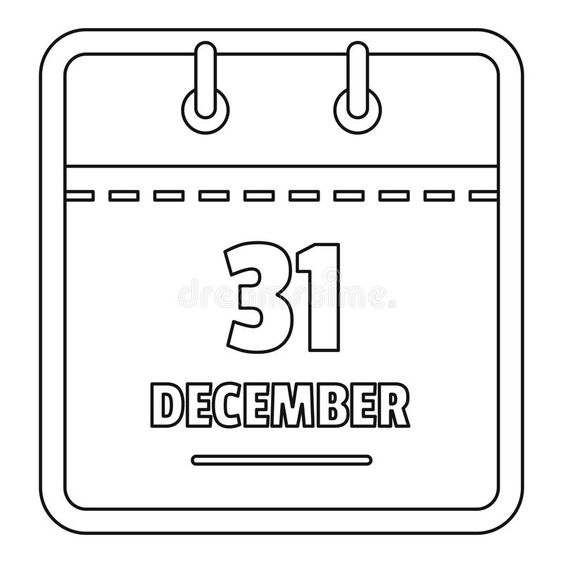 Ícone do calendário de dezembro, estilo do esboço ilustração do vetor