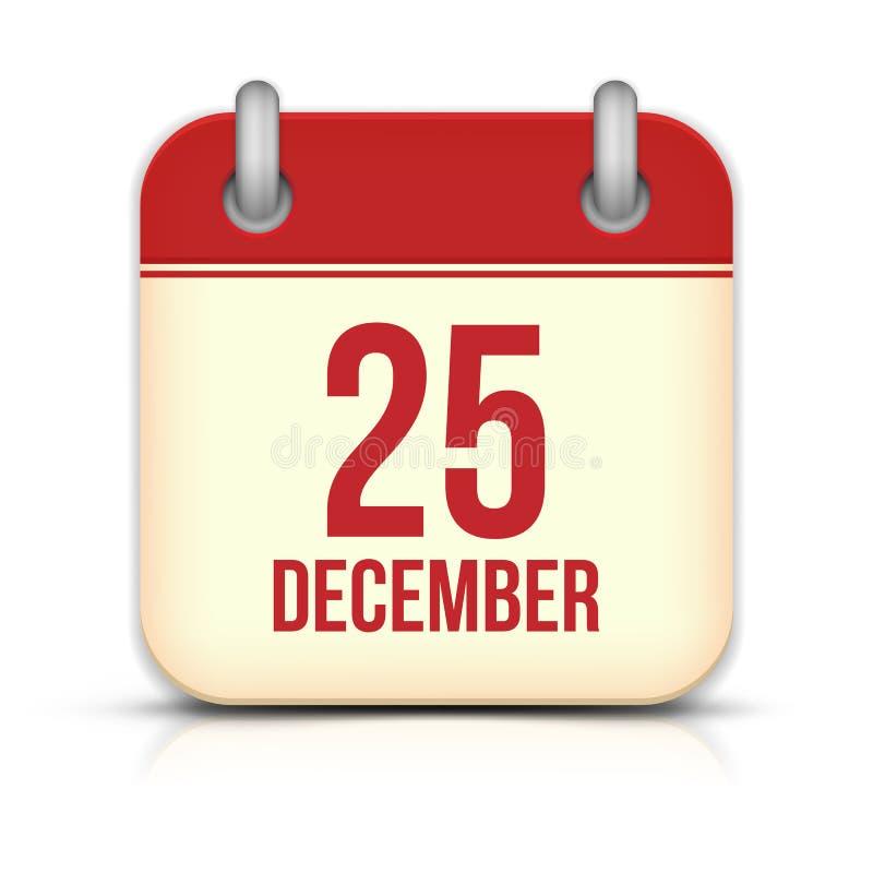 Ícone do calendário do dia de Natal. 25 de dezembro. Vetor ilustração royalty free