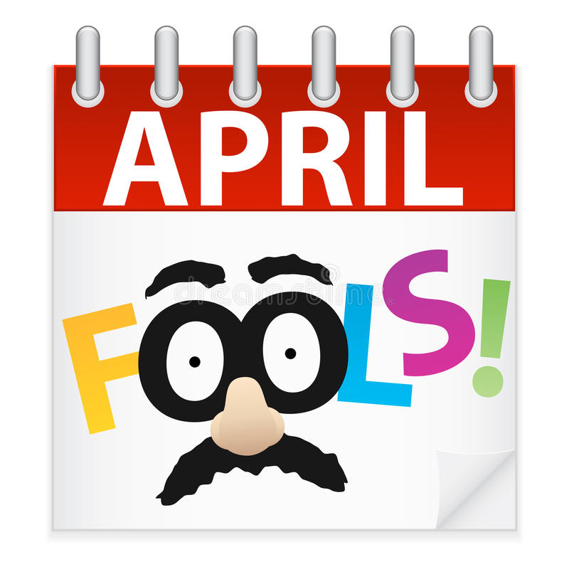 Ícone do calendário do dia de tolos de abril ilustração royalty free