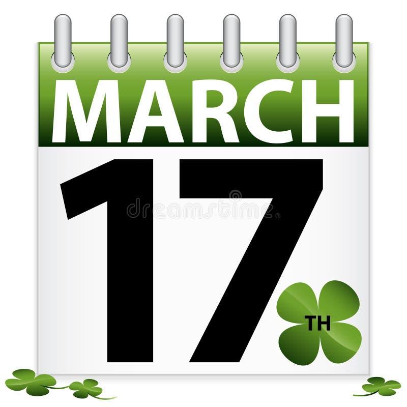 Ícone do calendário do dia do St. Patrick ilustração do vetor