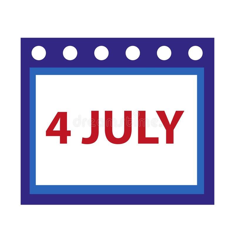 Ícone do calendário, estilo liso 4 de julho conceito Isolado no fundo branco Ilustração do vetor ilustração royalty free