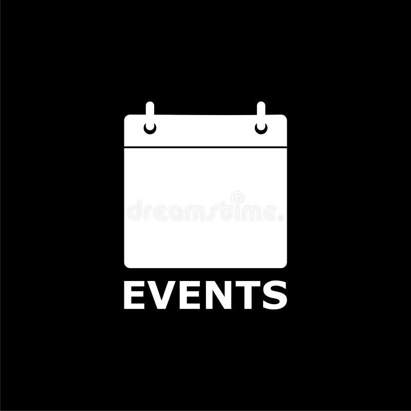 Ícone do calendário do logotipo dos eventos no fundo escuro ilustração do vetor