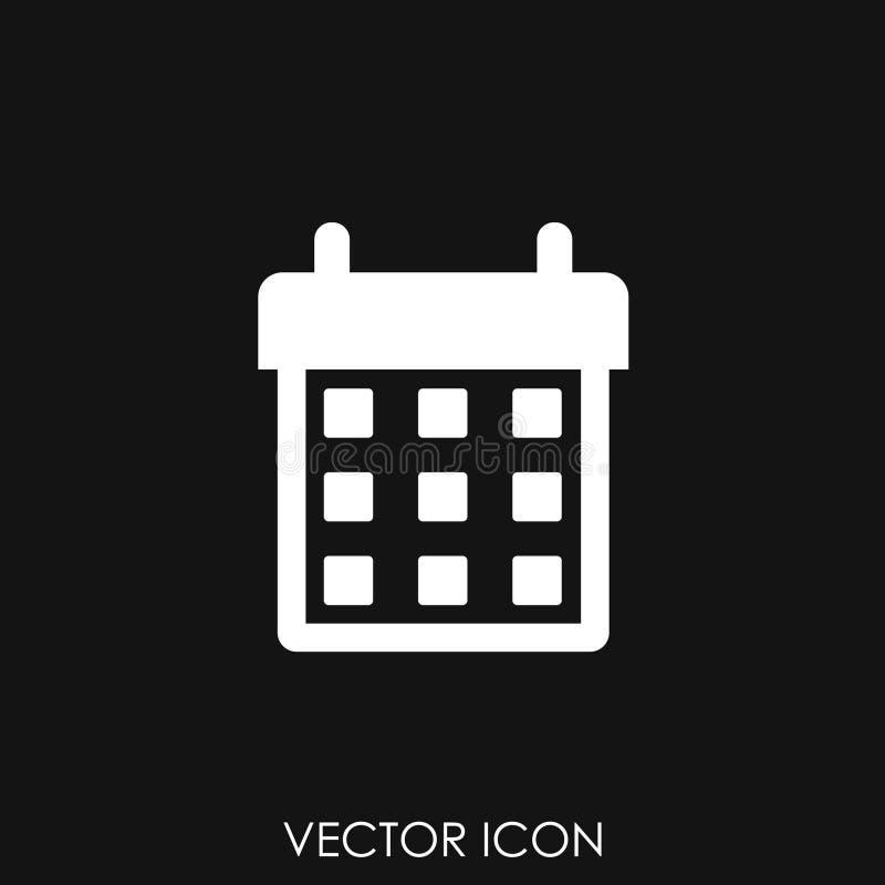 Ícone do calendário no estilo liso na moda ilustração stock