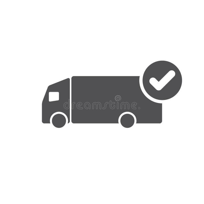 Ícone do caminhão com sinal da verificação O ícone do caminhão e aprovado, confirma, feito, tiquetaque, símbolo terminado ilustração do vetor