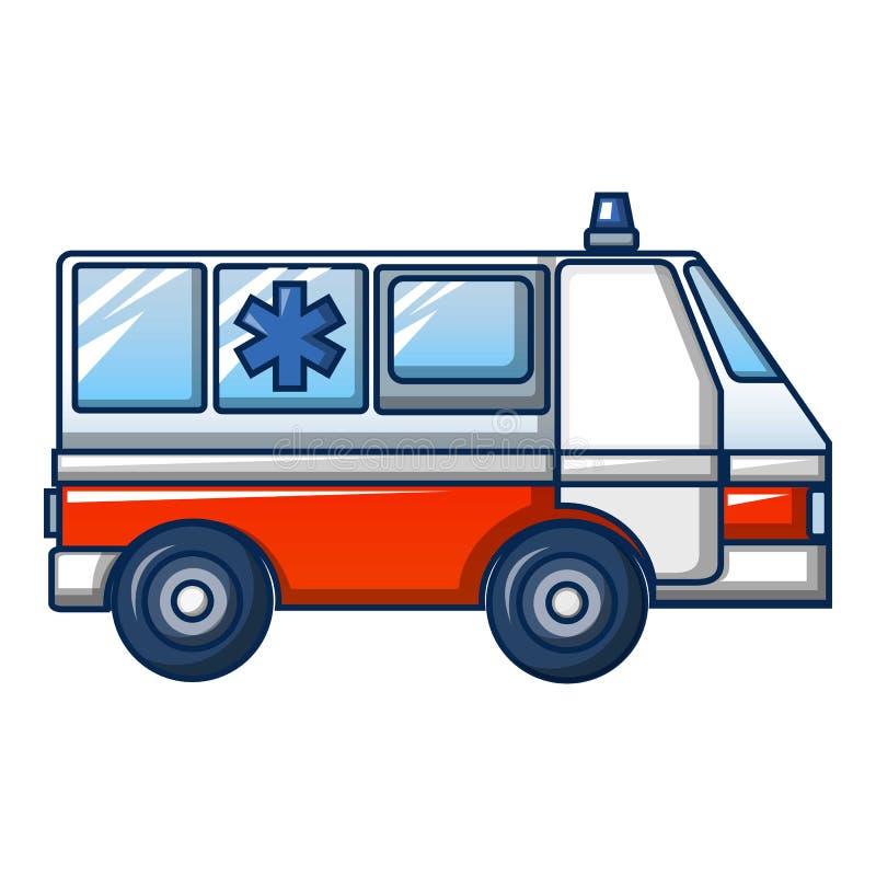 Ícone do caminhão da ambulância, estilo dos desenhos animados ilustração royalty free