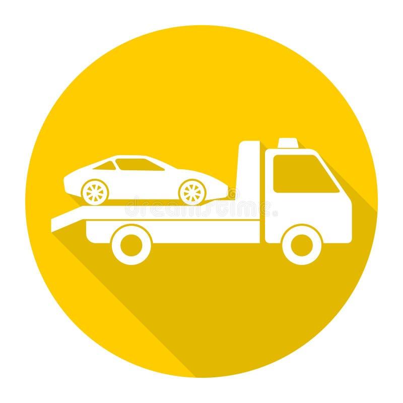 Ícone do caminhão de reboque do carro com sombra longa ilustração royalty free
