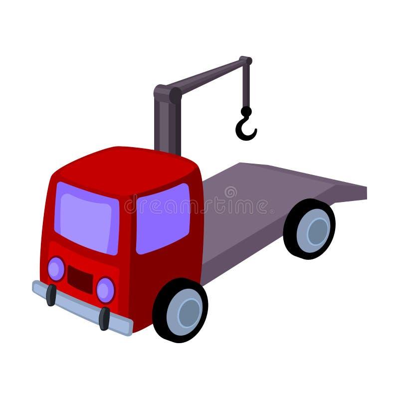 Ícone do caminhão de reboque no estilo dos desenhos animados isolado no fundo branco Ilustração do vetor do estoque do símbolo da ilustração do vetor