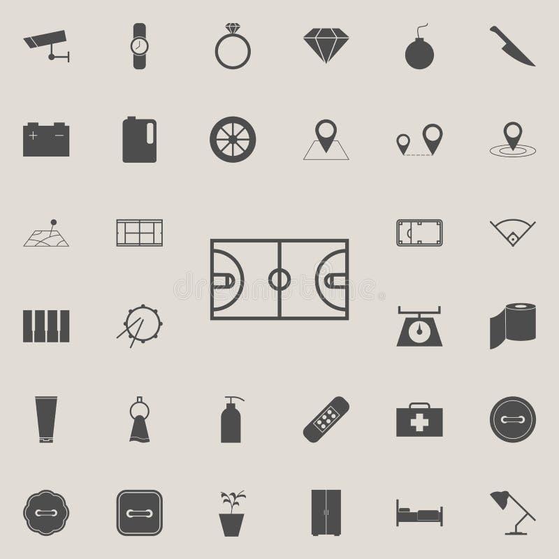 Ícone do campo do basquetebol Grupo detalhado de ícones minimalistic Sinal superior do projeto gráfico da qualidade Um dos ícones ilustração do vetor