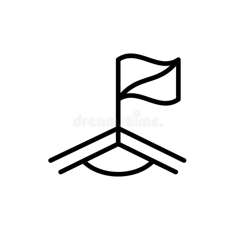 Ícone do campo do canto da bandeira do futebol símbolo simples do esporte do estilo do esboço da ilustração ilustração stock