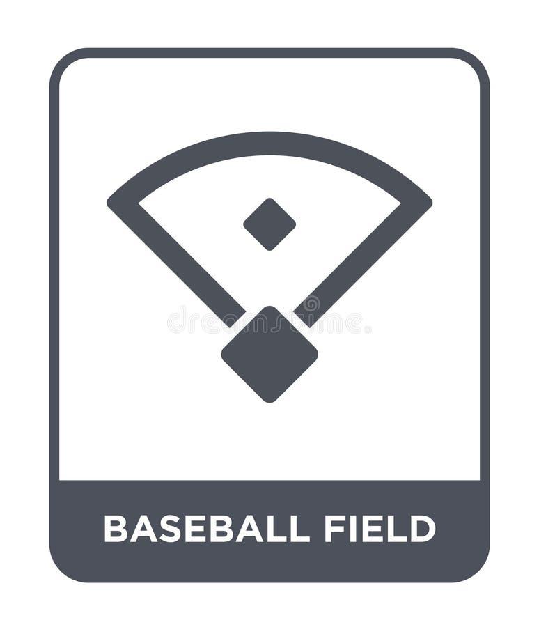 ícone do campo de basebol no estilo na moda do projeto ícone do campo de basebol isolado no fundo branco ícone do vetor do campo  ilustração stock