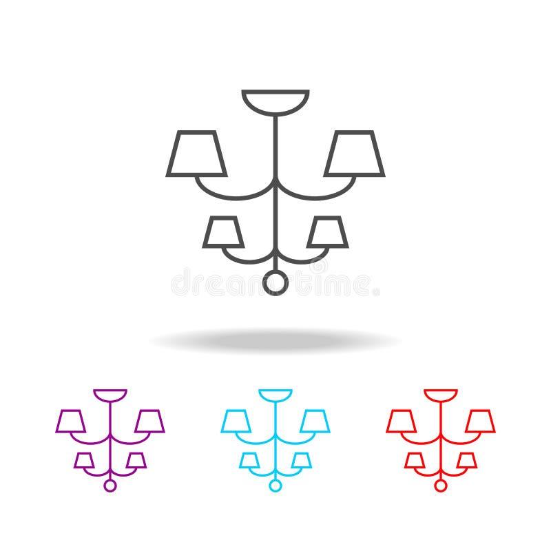 Ícone do candelabro Elementos da mobília em multi ícones coloridos Ícone superior do projeto gráfico da qualidade Ícone simples p ilustração royalty free