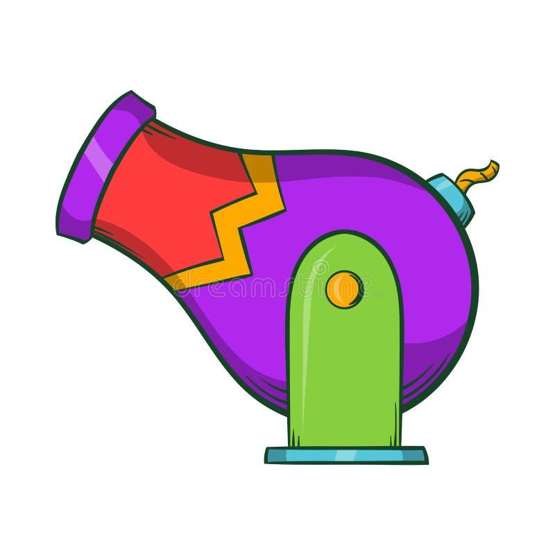 Ícone do canhão do circo, estilo dos desenhos animados ilustração do vetor