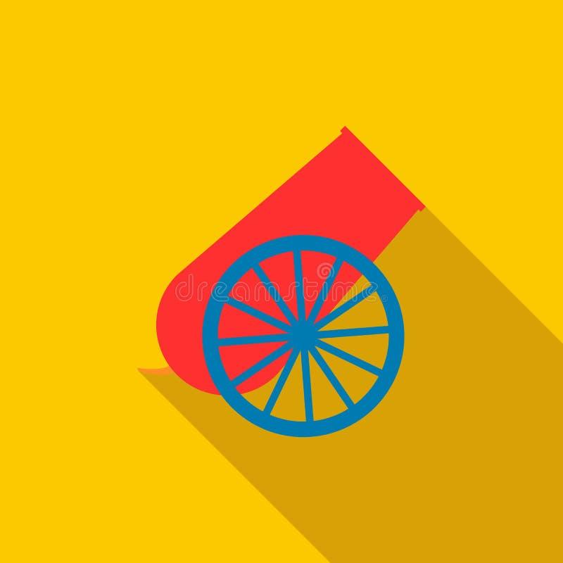 Ícone do canhão do circo, estilo liso ilustração royalty free