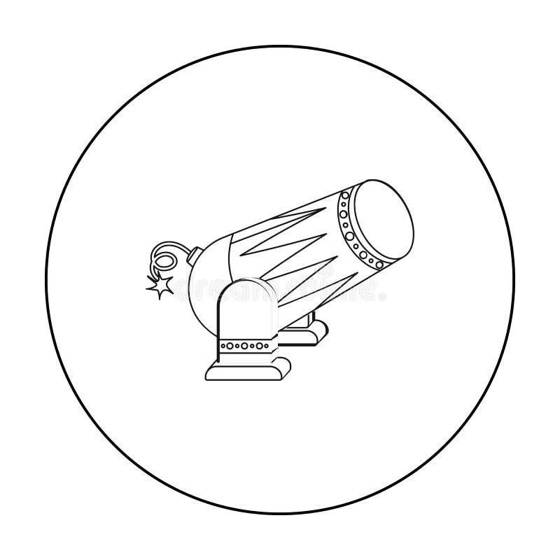 Ícone do canhão do circo no estilo do esboço isolado no fundo branco Ilustração do vetor do estoque do símbolo do circo ilustração royalty free