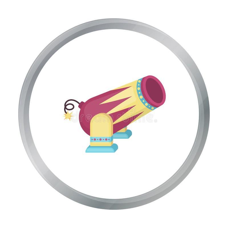 Ícone do canhão do circo no estilo dos desenhos animados isolado no fundo branco Ilustração do vetor do estoque do símbolo do cir ilustração stock