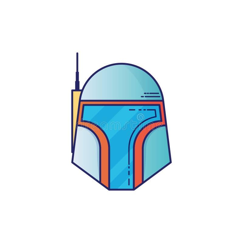 Ícone do capacete de espaço no estilo fino do esboço Graphhics do vetor ilustração do vetor