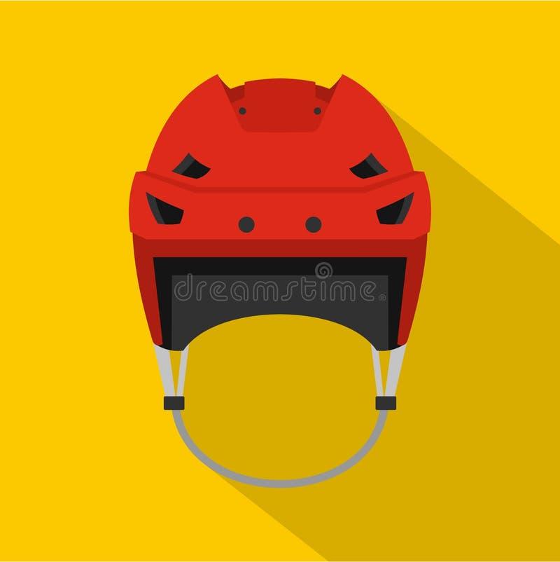 Ícone do capacete do hóquei, estilo liso ilustração do vetor