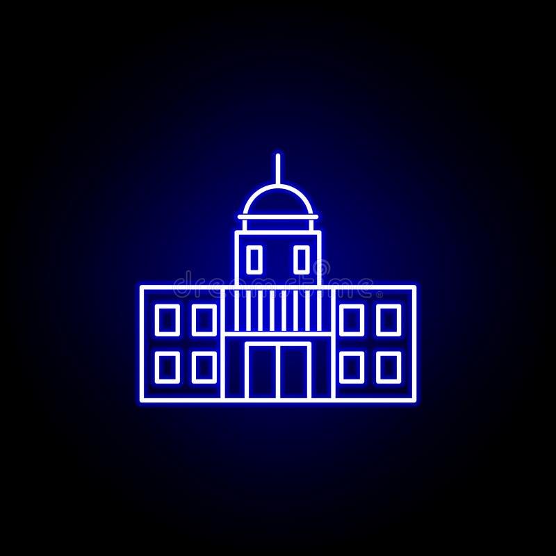 Ícone do capitol das eleições no estilo de néon Os sinais e os s?mbolos podem ser usados para a Web, logotipo, app m?vel, UI, UX ilustração stock