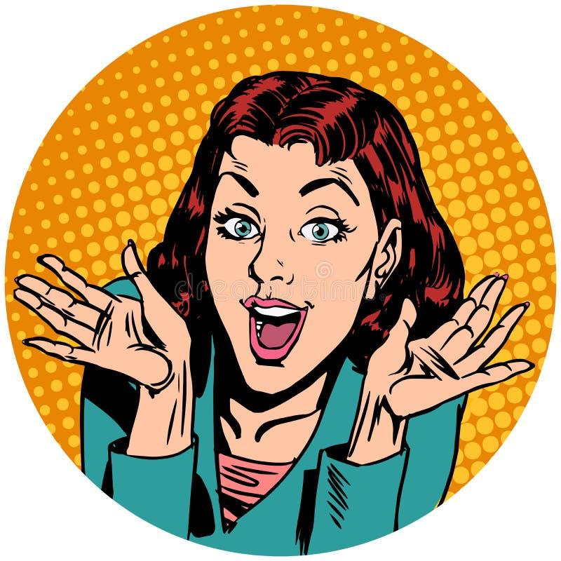 Ícone do caráter do avatar do pop art da mulher da surpresa ilustração stock