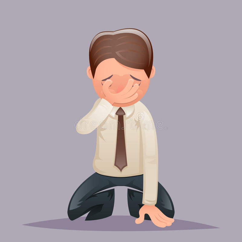Ícone do caráter do sofrimento de Despair Regret Suffer do homem de negócios do vintage do grito da genuflexão de Facepalm em des ilustração royalty free