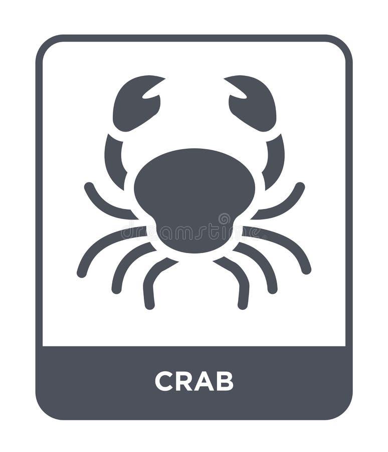 ícone do caranguejo no estilo na moda do projeto Ícone do caranguejo isolado no fundo branco símbolo liso simples e moderno do íc ilustração stock