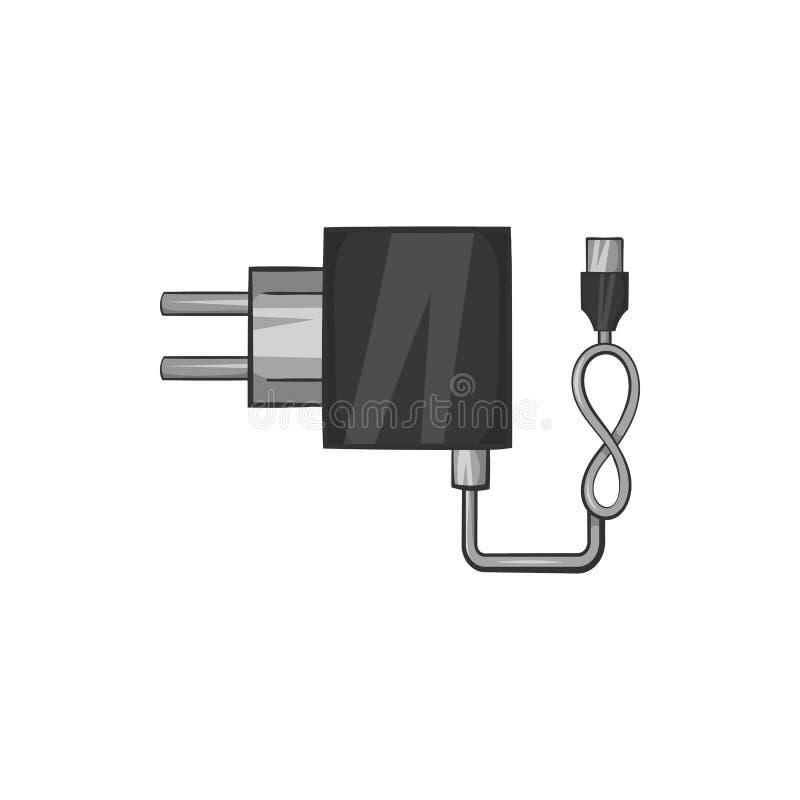 Ícone do carregador, estilo monocromático preto ilustração do vetor