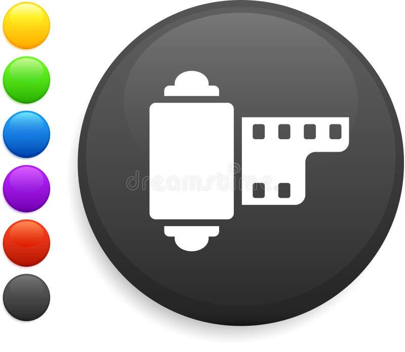 Ícone do carretel da câmera na tecla redonda do Internet ilustração stock