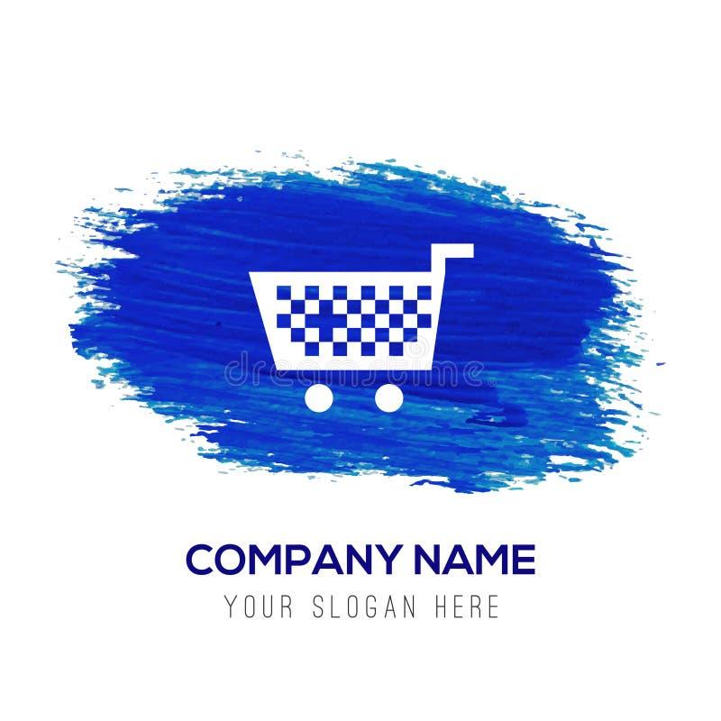 Ícone do carrinho de compras - fundo azul da aquarela ilustração stock