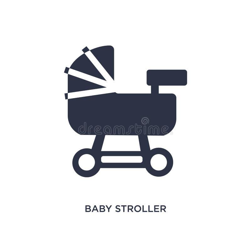Ícone do carrinho de criança de bebê no fundo branco Ilustração simples do elemento das crianças e do conceito do bebê ilustração do vetor
