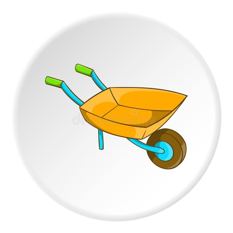 Ícone do carrinho de mão do jardim, estilo dos desenhos animados ilustração stock