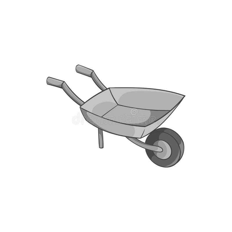 Ícone do carrinho de mão do jardim, estilo monocromático preto ilustração royalty free