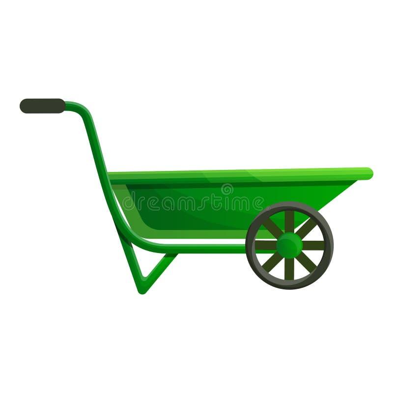 Ícone do carrinho de mão do jardim, estilo dos desenhos animados ilustração do vetor